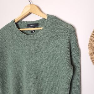 Forever 21 Olive Cropped Knit Sweater Small
